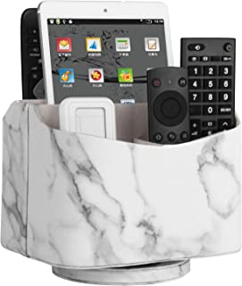 HofferRuffer Spinning Remote Control Holder, Remote Controller Holder, Remote Caddy, Media Storage Organizer, Spinning Remote Control Organizer, 7.3X 5.5 x 6 inches, Marble PU Leather
