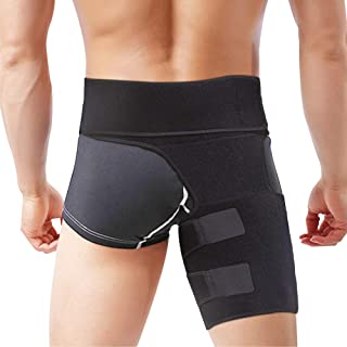 Hip Brace, lifecolor Groin Support Sciatica Relief Wrap Thigh Hamstring Compression Sleeve for Pulled Injury Strain Tendonitis Rehab and Recovery, Fits Men Women