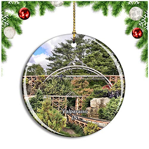 Weekino Valparaiso Taltree Arboretum and Gardens Indiana USA Christmas Ornament Xmas Tree Decoration Hanging Pendant Travel Souvenir Collection Double Sided Porcelain 2.85 Inch