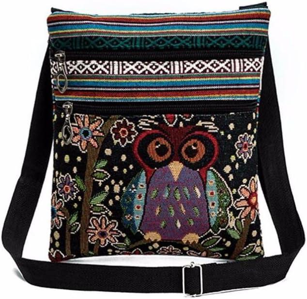 Postman Handbags, Paymenow Embroidered Owl Tote Bags Linen Women Shoulder Bag Crossbody Postman Package (D)