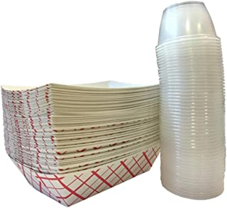 Paper Food Tray 2.5-Pound With Clear Plastic Dip Cups 50-Pack