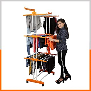 KINDRED Homewares Heavy Duty Steel 3 Layers 4 Poles Super Grandis Cloth Drying Stand/Clothes Dryer Stands/Laundry Racks/Cl...