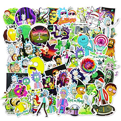 Rick and Morty Stickers Funny Laptop Stickers Pack Cool Cartoon Waterproof Decals for Car, Hydro Flasks, Water Bottle, Skateboard, 101pcs