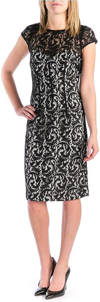 Monique Lhuillier ML, Cap Sleeve Lace Overlay Cocktail Dress, Black/White