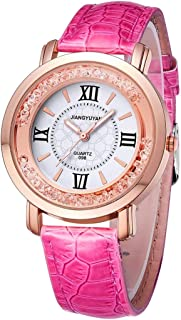 wall clock, Fashion Women Quartz Wrist Watch with PU Leather Band and Alloy Watch Case,Colour Name:Brown (Color : Rose Red)