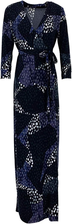 Xv DVF Summer Vintage Floral Print Dresses 3 4 Sleeve Beach Wrap Long Dress with Belt for Women