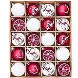Victor's Workshop Palline di Natale 20 Pezzi 6cm, Decorazione dell'albero di Natale Plastica Rosso Bianco, Addobbi e Decorazioni Natalizi, Regali dei Ciondoli e Pendenti di Natale, Christmas Balls