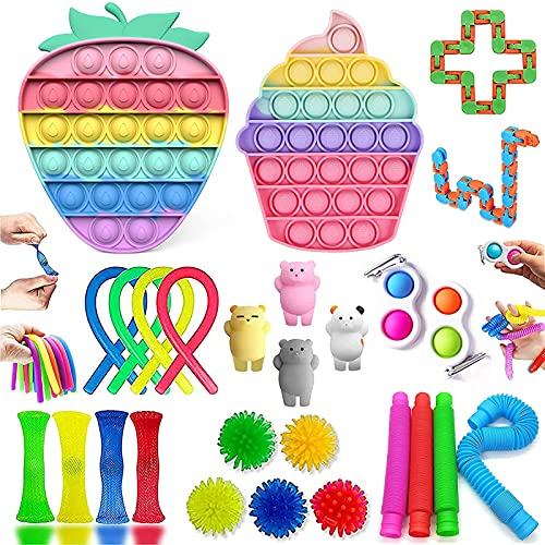 Fidget Toys, Alivia Estrés y la Ansiedad Toy, Fidget Toys Set con Simple Fidget, P-ù-sh B-ù-bble Fidget Juguete Para Niños, Autismo Regalos para niños, Recompensas en el aula de la Escuela