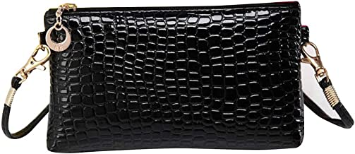 JESPER Women Crocodile Leather Messenger Crossbody Clutch Shoulder Handbag Black