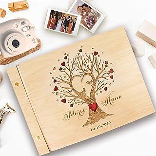 Guestbook matrimonio, in legno, personalizzato, nomi degli sposi e la data, album famiglia per foto, idea regalo per gli a...