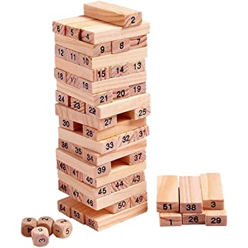 babyBaba Wooden building blocks Puzzle 51 Pcs Challenging 4pcs Dice Wooden Stacking Game Maths for Adults and Kids