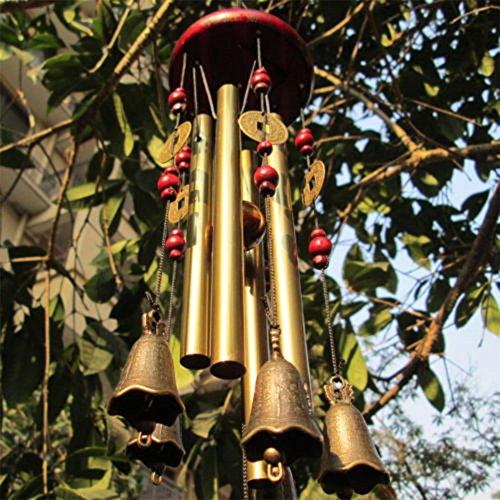 Windspiel, Bronze, 4 Metall-Zylinder, 5 Glocken, 60cm lang, für Garten, Ornament für den Außenbereich - 6