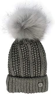 Irish Knitwear Co. Grey Metallic Cable Knit Beanie Hat