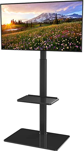 Universal Floor TV Stand With Mount For 19 To 42 Inch Flat Screen TV 100 Degree Swivel Adjustable Height And Tilt Function 2 Shelves HT2001B