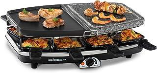 Cloer 6435 Raclette med natursten/1200 W/8 non-stick raclettepilar