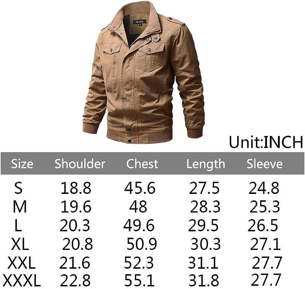 WULFUL Men's Cotton Military Jackets Casual Outdoor Coat Windbreaker Jacket