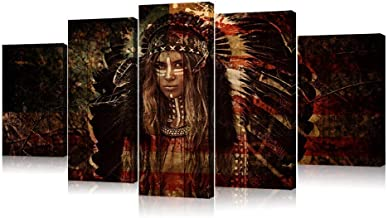 VVOVV Wall Decor - 5 Piece Canvas Print Indian Woman Painting American Flag Wooden Background Pictures Native American Girl Feathered Wall Pictures for Home Decoration Stretched and Framed 60x32inch