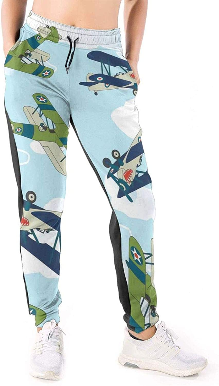 LONEA Women Joggers Pants Cartoon Allied Plane Flying Athletic Sweatpants with Pockets Casual Trousers Baggy