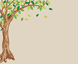 Large Wall Stickers of Green and Brown Corner Oak Tree