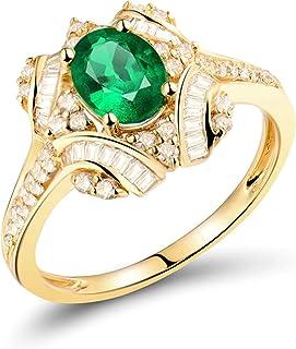Daesar Anello in Oro Giallo 18 K, Anelli Donna Fidanzamento Smeraldo 0.59ct Ovale e Fiore con Diamante 0.46ct Anello di Fi...