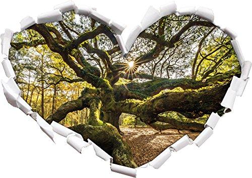 gigantisch verwzeigter Baum Herzform im 3D-Look , Wand- oder Türaufkleber Format: 62x43,5cm, Wandsticker, Wandtattoo, Wanddekoration