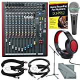 Allen & Heath ZED-12FX 12-Channel Recording Mixer with USB Connection and FX & Deluxe Bundle w/ Closed-Back Headphones + Studio Guide + Dynamic Mic & Stand + Cables + Fibertique