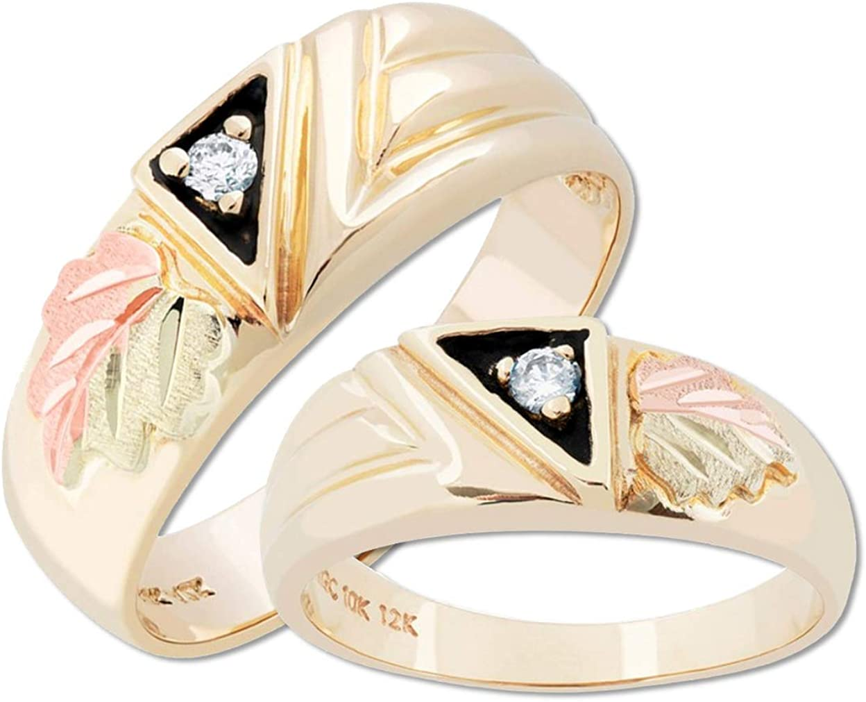 10k Yellow Gold, 12k Rose and Green Gold Diamond Black Hills Gold Band, His and Hers Wedding Ring Set