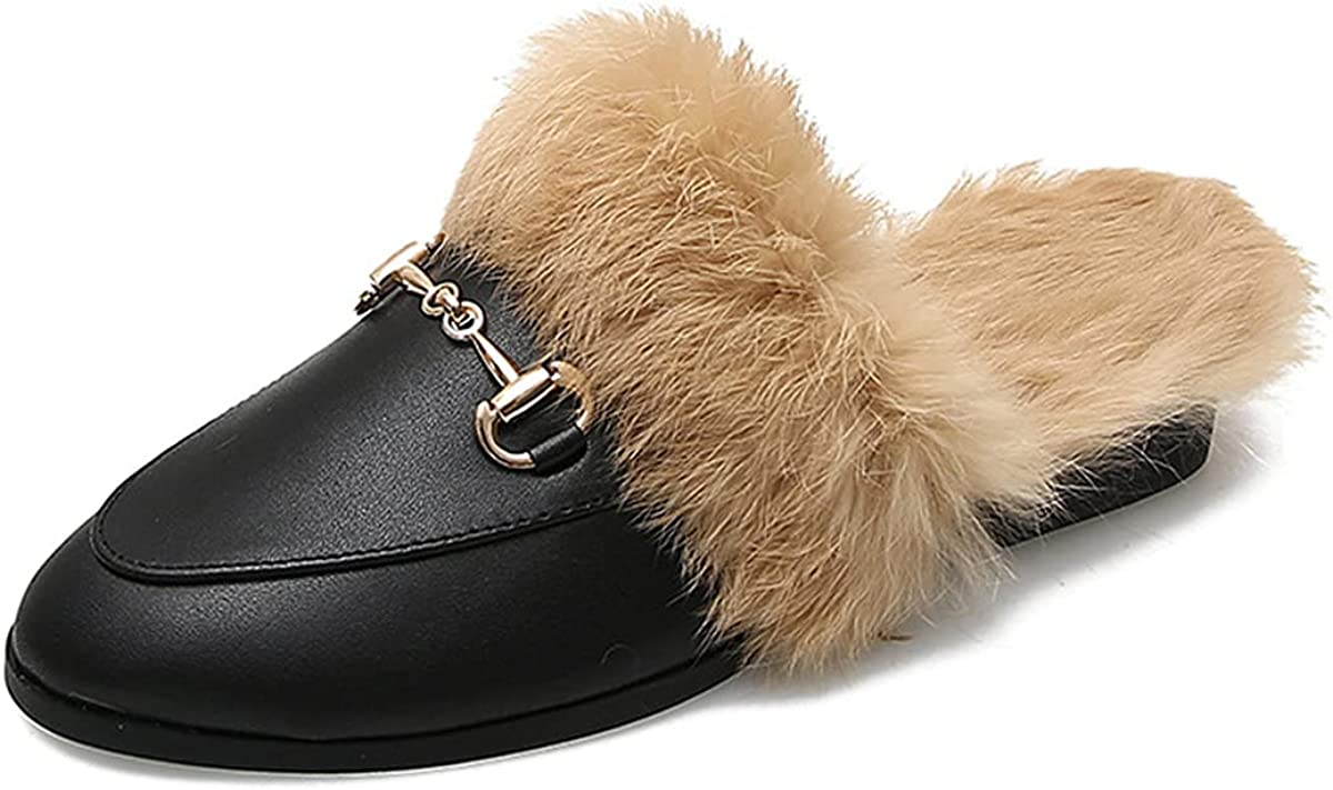 Flerivva Women's Special price for a limited time Slip-on Mule Flats Mu Shoes Backless Loafer 2021 Fur
