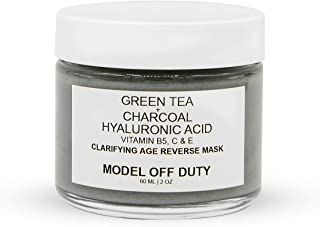 Model off Duty Beauty Clarifying Age Reverse Mask | Detoxifying Anti Aging Pore Minimizing Creamy Face Mask | Acne Scar Treatment w/Activated Charcoal, Green Tea, Hyaluronic Acid, Vitamin B, C, E 2oz