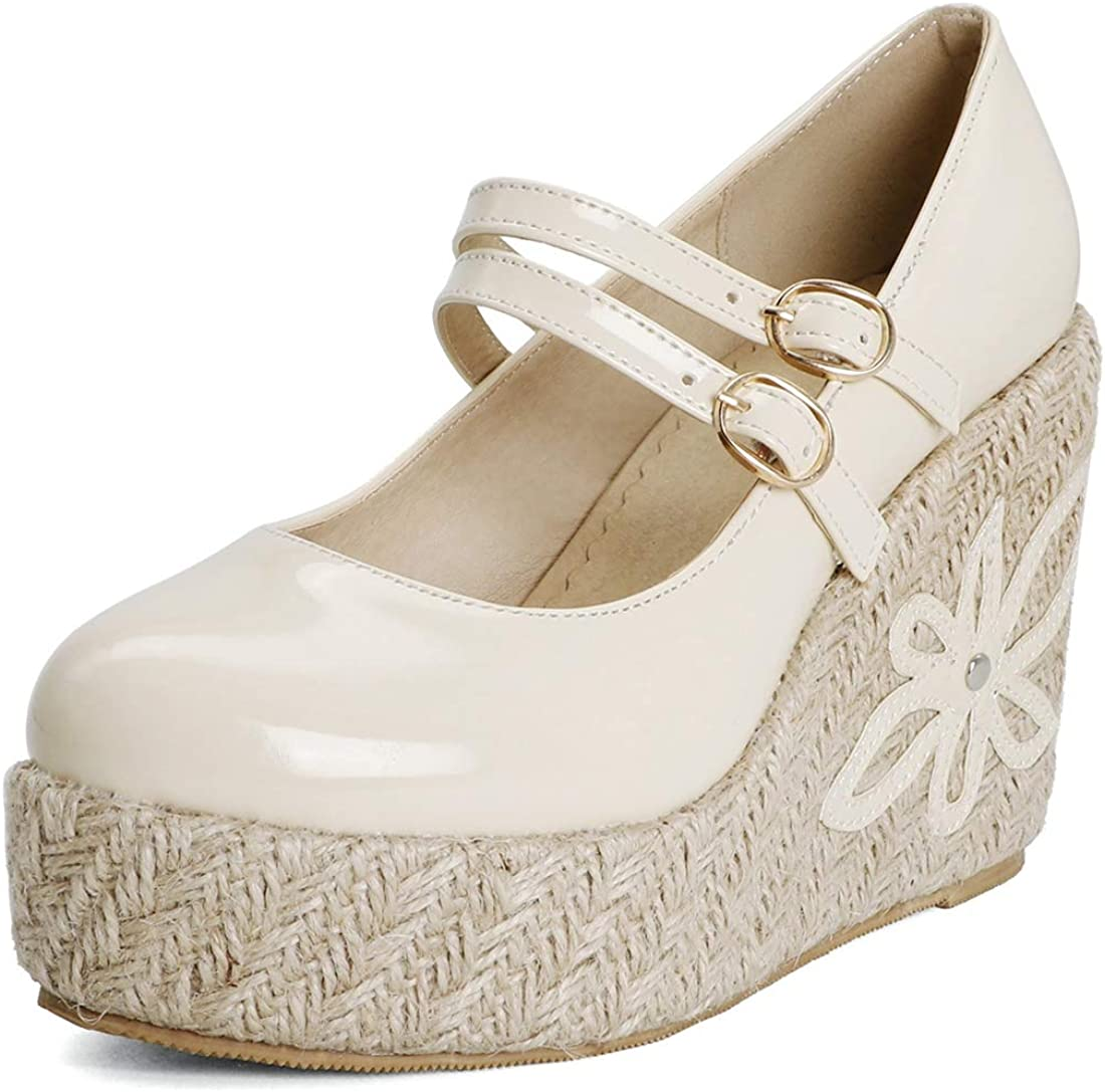 MISTU Women's Mary Jane Espadrilles Opening large release sale Pumps Ranking TOP16 Wedge Round Patent Toe