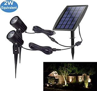 Led Solar Power Security Spotlights,Waterproof Outdoor landscape lighting,Solar Garden Exterior Lights for Tree Flag Yard Pool Lawn Driveway,Daylight White Light Fixture Wall Lamps