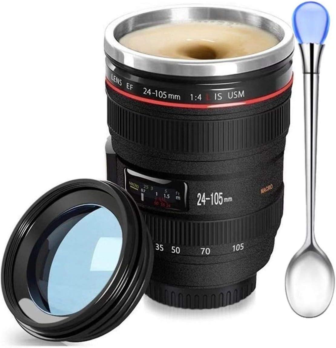 Kaffeebecher mit Kameralinse, lustiges Foto-Objektiv, Edelstahl-Thermobecher, tolles Geschenk für Fotografen, Heimbedarf, Freunde, Schulbelohnungen...