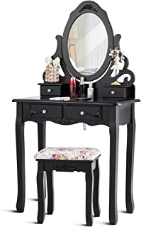 Giantex Vanity Dressing Table with Mirror and Stool, 360° Rotating Oval Makeup Mirror Classic Style Delicate Carved Cushio...