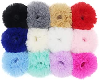 Set of 12 Fuzzy Furry Artificial Rabbit Fur Faux Fur Hair Band Rope Wristband Hair Ring Hair Tie Ponytail Holder Hair Accessories (Mix Colors)