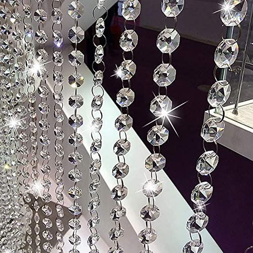 32 8Ft Crystal Beads Chain Clear Crystal Garland Chandelier Octagon Beads Glass Crystal Chandelier product image