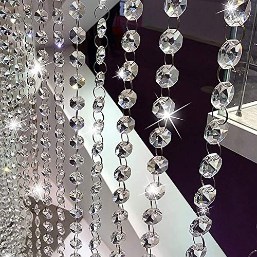 16.4Ft Crystal Beads Chain, Clear Crystal Garland Chandelier Octagon Beads Glass Crystal Chandelier Beads Lamp Chain, K9 Crystal, Not Acrylic, Not Plastic