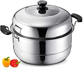 QZCD Steamer, 304 stainless steel, double layer 34 cm, soup pot, steamer steam oven induction cooker Soup Can Be Steamed, ...