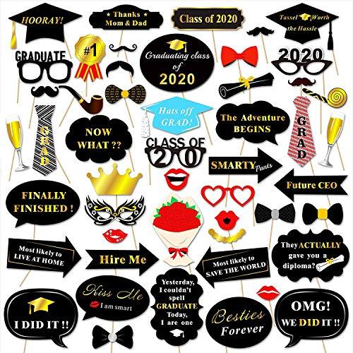 HOWAF 50 Stück Abschlussfeiern Photo Booth Props Foto Requisiten Doktorhut Brillen Lippen Krawatte Masken für 2020 Abschluss Dekorationen