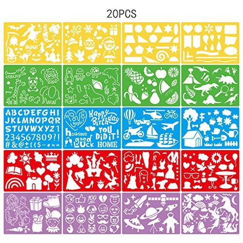 Anyingkai 20PCS Plantilla de Pintura Navideña,Plantillas Navideñas,Plantillas de Navidad para Pintar,Plantillas de Dibujo Plastico,Plantillas para Pintar Niños (color21*15cm)