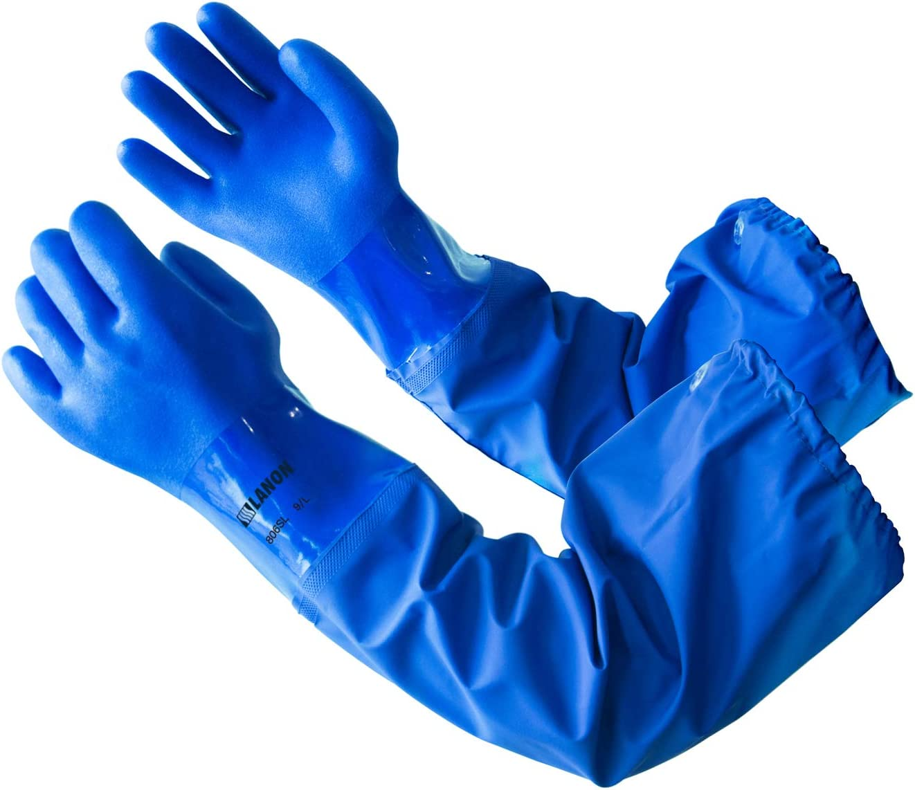 Fashionable LANON 3 Pairs PVC Coated Chemical Gloves Reusable Superior Hea Resistant