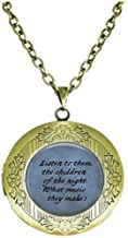 lukuhan Dracula Quote Locket Necklace - Listen to Them, The Children of The Night. Halloween Jewelry - Goth Jewelry - Bram Stoker - Literary Jewelry