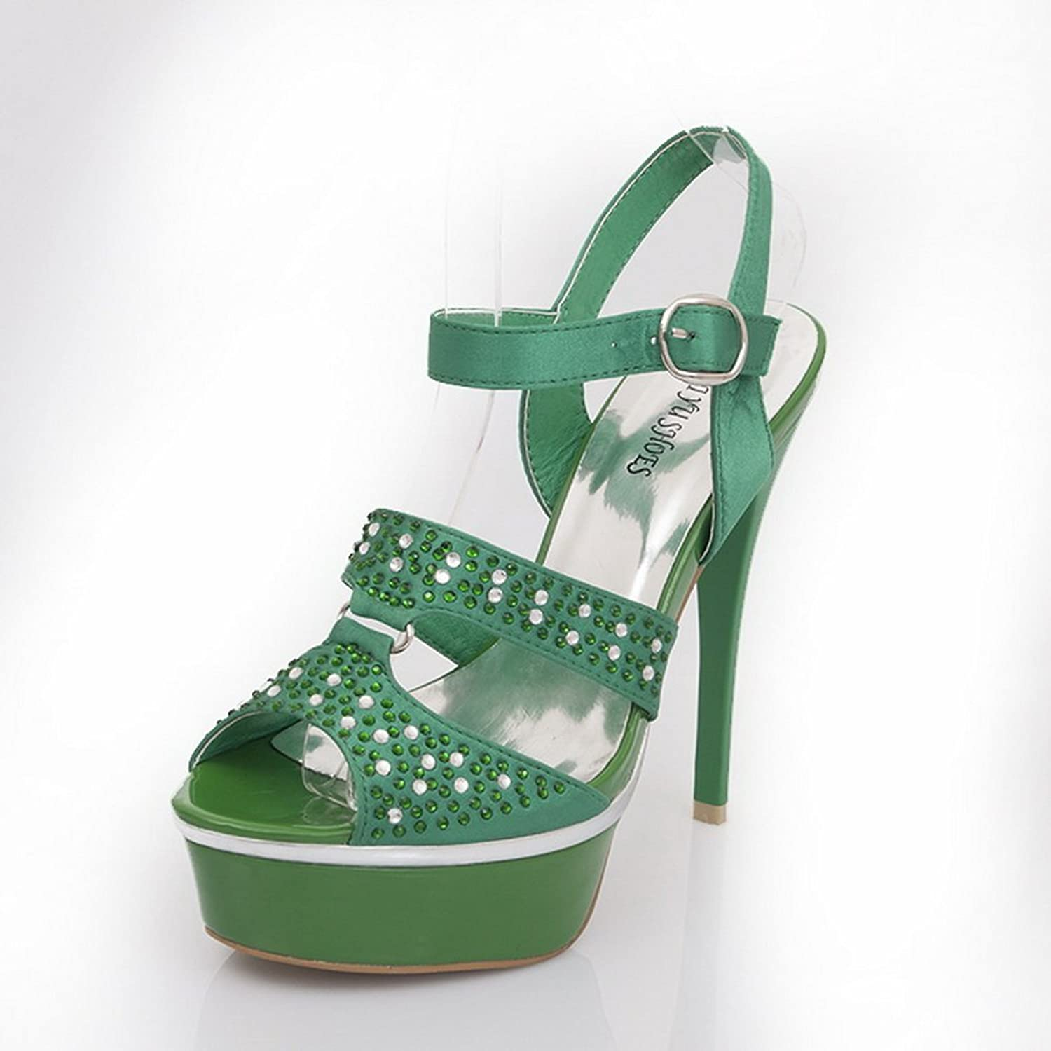 1TO9 Ladies Glass Diamond Fashion Green Soft Material Sandals - 7.5 B(M) US