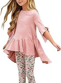 Caitefaso Girls Cute Shirts Summer Fall Ruffle Tunic Tops 3/4 Sleeve High Low Slim Blouses Tee 3-9 T