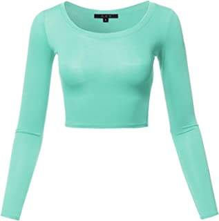 Women's Basic Solid Stretchable Scoop Neck Long Sleeve Crop Top