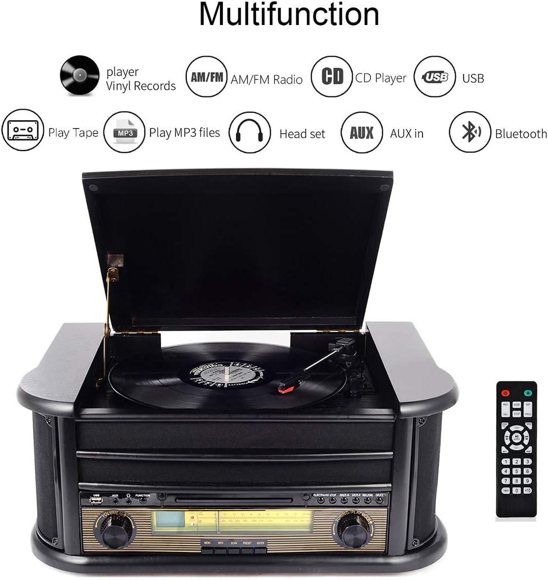 Marr/ón MUSITREND Tocadiscos de Vinilo Reproductor de CD MP3 USB Casetes Radio Dab Tocadiscos Bluetooth con Est/éreo Altavoces