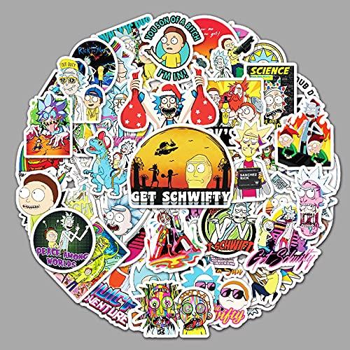 ZNMSB 51 Pegatinas de Dibujos Animados de Rick y Morty, Pegatinas para decoración de Nevera de Maletero de Coche y Scooter portátil