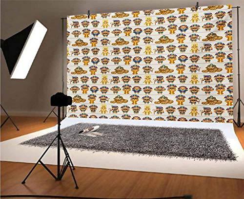 Fondo egipcio de vinilo para fotografía de 1,5 x 3,5 m, diseño de niños con figuras antiguas egipcias de dibujos animados Rey Reina Mito Patrón de fondo para fotografía de fondo, fondo de fotografía