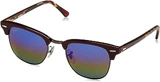 RAY-BAN RB3016 Clubmaster Square Sunglasses, Metallic Dark Bronze/Blue Rainbow Flash, 49 mm