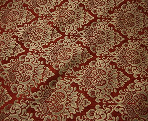 Chenille Floral Damask Fabric - 1