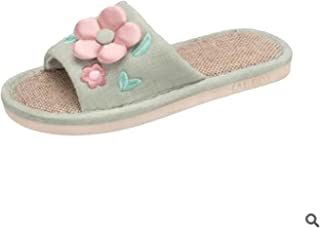 Romance-and-Beauty Summer Slippers Flower Home Shoes Linen Slippers Summer Hemp Women Slippers Floor Indoor Shoes